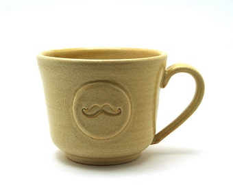Mustache Coffee Mug, Cream Moustache Cup, Unique Handmade Pottery Fun Gift for Men Ready to Ship - by MiriHardyPottery