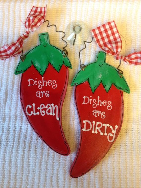 Chili Pepper Dishwasher Sign Kitchen Decor Dishes Are