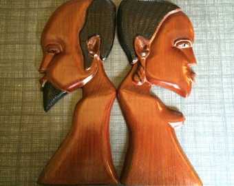 Vintage African Folk Art Profile Wall Decor