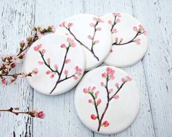 Cherry blossom ceramic coaster pink blossom Spring time Sakura