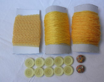 Craft set yellow- lace-cotton-acrylic wool-buttons