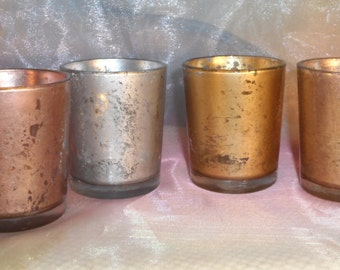 15 Rose Gold Mercury Glass Wedding Votive Candle Holders or Centerpieces /  parties /  weddings votives centerpieces / gift /