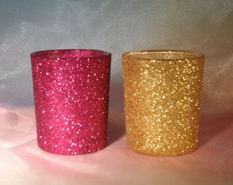 "Pure Glitter ""Dust"" Votive Candle Holders for Weddings, Holiday Parties, Engagement Celebrations 10 per order, Centerpiece"