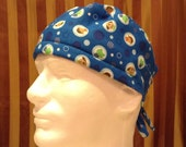 CLEARANCE--Men's Tie Back OR Scrub Hat with SWEAT Band/Mens Scrub hat/Scrub caps--Tiny Friends