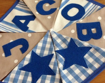Personalised Name Personalized Name Boys Bunting Banner Blue Gingham Stripe Taupe Polka Dot Spots - Priced per flag