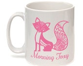 Fox Mug, Pink Fox, Morning Foxy, Statement Mug, Animal Mug, Tea Cup, Mug Only or Mug With Coaster Choice. UK