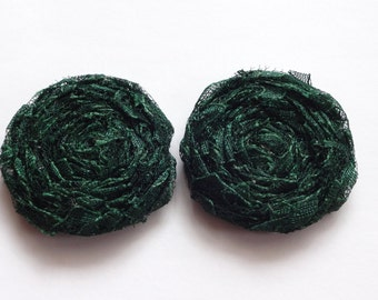 2 Dark Green Lace Fabric Rosettes Embellishment