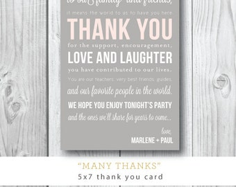 Many Thanks | Welcome Card | Thank You Insert | Reception Card | Printed or Printable by Darby Cards