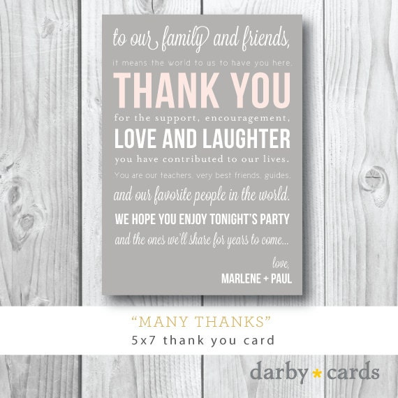 Many Thanks   Welcome Card   Thank You Insert   Reception Card   Printed or Printable by Darby Cards