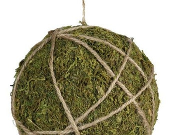 """3.5"""" Moss with Jute Ball Ornament"""