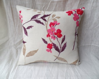 """Clearance Modern 16"""" cream, pink, beige, purple flowered cushion cover, scatter cushion, pillow case"""