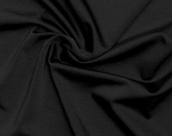 "Black nylon lycra spandex 4 way stretch heavy weight 14 oz per lineal yard 52"" wide sold by the yard"