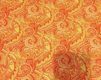 "Allover Paisley coral/yellow by Fabric Traditions 100% cotton quilting fabric fat quarter 24""X22"""
