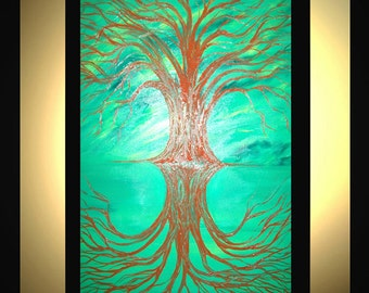 "Original Large Abstract Painting Modern Acrylic Oil Painting Canvas Art Green Rust Tree REFLECTION 36x24"" Palette Knife Textured  J.LEIGH"