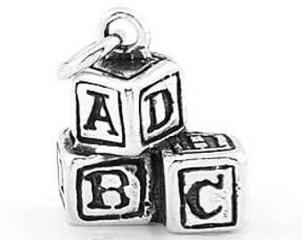 Sterling Silver ABC Baby Building Block Charm (Hollow Back Charm)