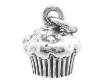 Sterling Silver Cupcake Charm (3d Charm - Hollow Bottom)