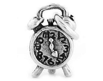 Sterling Silver Alarm Clock Charm (3d Charm)