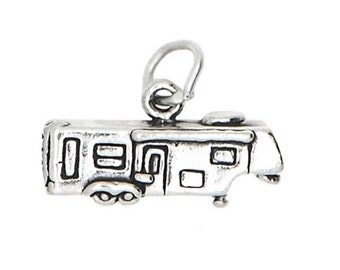 Sterling Silver Hitched RV Vacation Travel Trailer Charm Pendant (3D Charm)