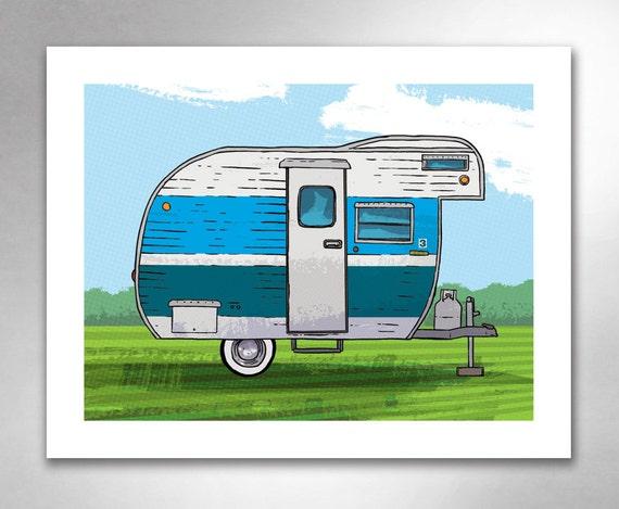 VINTAGE TRAVEL TRAILER 3 Blue Boy Art Print by Rob Ozborne