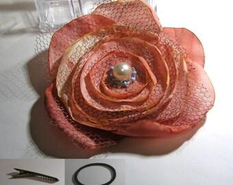Hand made  designed  ORANGE FLOWER victorian looking rose brooch barrette ponytail alligator clip