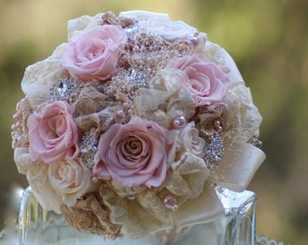 SALE FULL PRICE Brooch Bouquet Preserved roses Blush Pink and Taupe and Cream Victorian