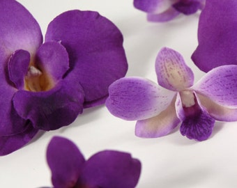 ALL PURPLE Two Orchid Set hair pin clip piece