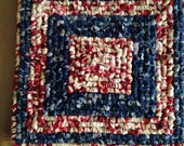 Holiday Sale, Hand Made Red White an Blue Pot Holder, 8.25 x 8 Inches, Patriotic Decor, Gifts For Moms, Primitive Americana Hot Mat