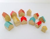 SALE tiny wooden houses rainbow wooden block 12 pieces miniature  village wooden decorative houses in natural wood bois et rois