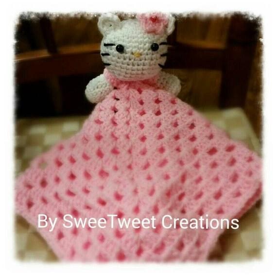 Crochet Pattern For Hello Kitty Baby Blanket : Adorable Crochet hello kitty lovey blanket by ...