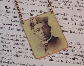 Black History jewelry Augustine Tolton necklace 1st Black Catholic Priest mixed media jewelry