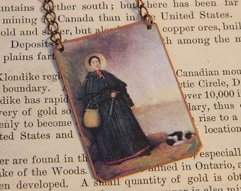 Paleontology necklace Mary Anning Womens history women in science mixed media jewelry