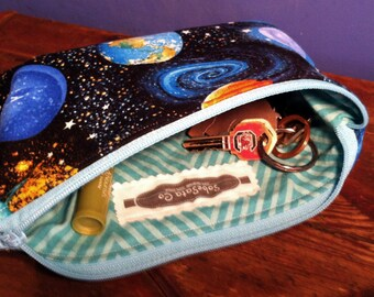 100% Cotton Zip Pouch/Cosmetic Bag - Space