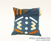 Massai Warrior Upcycled Denim Throw Pillow trimmed in Green, White, Cream, Teal, Yellow, Red Leather