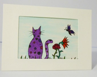 Original ACEO pen and ink drawing, , ATC Art trading card,  cat art purple, flowers
