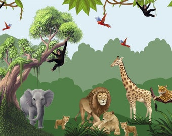 Jungle Safari Adventure Large Wall Vinyl Set