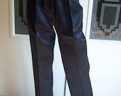 Vintage Black Satin Dress Pants, High Waisted Slacks, 1990's Fashion, Size 11, Straight Legged With Satin Ribbon Down Side Seam, Gift Item