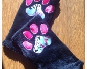 Arm Warmers - Canine Paws - Sleek Black and Hot Pink & Green Paisley - Puppy Kitty Kawaii Pet Paw Pads OOAK