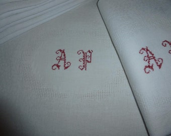 10 Napkins Damask, French Monogrammed A.P Huge, Circa 1920 ish
