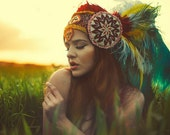 READY TO SHIP Ethnic kuchi spanish mexican Afghanistan tribal beaded Queen Goddess Fantasy headdress headpeice wig