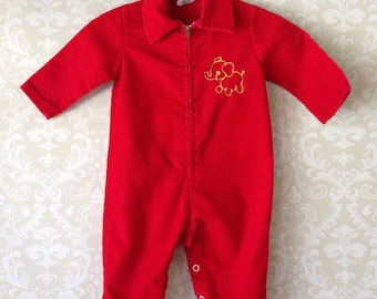 vintage red curduroy jumpsuit for baby by sears permaprest elephant detail