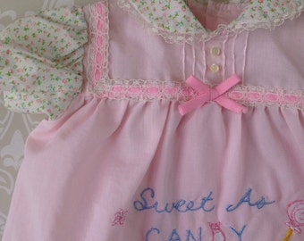 vintage pastel cotton candy pink lacey baby girls dress top sweet as candy by cradle togs size 0-3 months