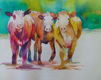 Hereford cow print orignal watercolor cow painting cow decor ranch decor canvas print cattle decor cattle art farm animal western decor