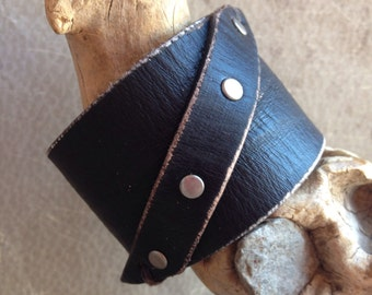 Black Leather Wristband, Handmade Rocker Wristband, Biker, Black