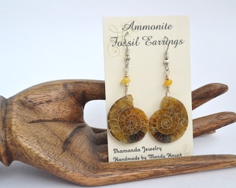 Unique and Detailed Ammonites with Amber and Sterling Silver Earrings