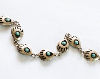 Turquoise Bracelet, Native American, Sterling Silver, Shadow Box, Vintage Jewelry, SUMMER SALE