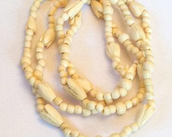 Carved Ox Bone Necklace 1920s Art Deco Vintage Jewelry