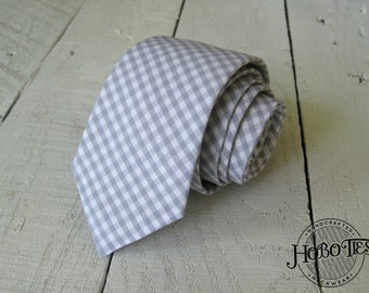 Gray Gingham Necktie~Anniversary Gift~Wedding Tie~Gray Necktie~Mens Gift~Boys Necktie~Mens Necktie~Wedding~HoBo Ties~Mens Tie~Boys Tie