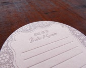 Letterpress Wedding Guest Advice Coasters - Guest Book Coasters