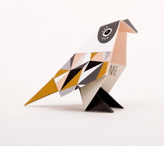Mustard bird: Pack of three origami Birds with pattern print, folded and packed