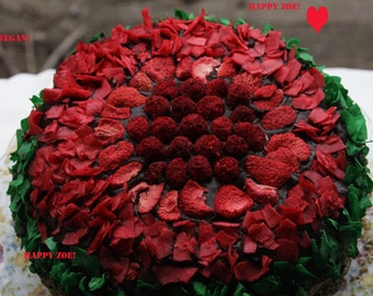 Vegan Chocolate Pistachio Coconut Strawberry cake, love, animal free cruelty,no eggs,no dairy.